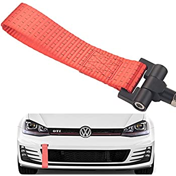 OriginalEuro Universal Racing Sport Tow Hook Strap Band High Strength Heavy Duty Loop Red
