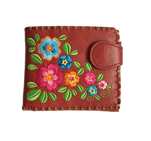 Wallet Embroidered (Garden of Flower Vegan / Faux Leather Medium Embroidered Wallet (Red))