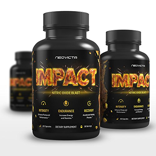 #1 L-Arginine & L-Citrulline Supplement - Pre Workout Nitric Oxide Booster for Men and Women - IMPACT by Neovicta - Boost Energy, Recovery & Pump - Aids Weight Loss - 60 Count - Money Back Guarantee