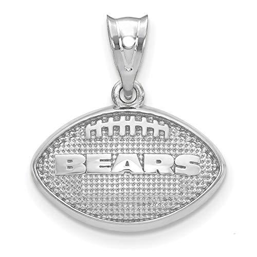 (NFL Sterling Silver LogoArt Chicago Bears Football with Logo Pendant)