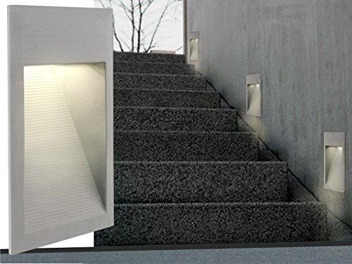 LED WAND EINBAU-LEUCHTEN, Treppen-Leuchte, Stufenbeleuchtung Maxi J04 Aluminium pulverbeschichtet, 230V IP-65, warm-weiß [IHR VORTEIL: tolle LICHTQUALITÄT feinste VERARBEITUNG schneller EINBAU] INNEN / AUSSEN