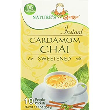 Nature's Guru Instant Cardamom Chai Sweetened, 10-Count (Pack of 4)