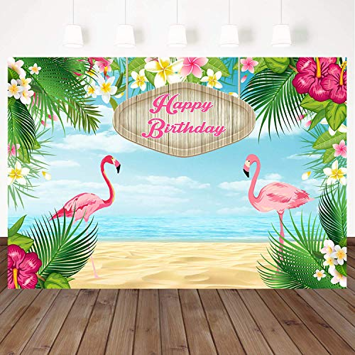 Mehofoto 7x5ft Happy Birthday Backdrops Flamingle Flamingo Hawaiian Birthday Party Vinyl Banner Backdrop Tropical Beach or Aloha Party Dessert Table Children Customized Photo Booth Background ()