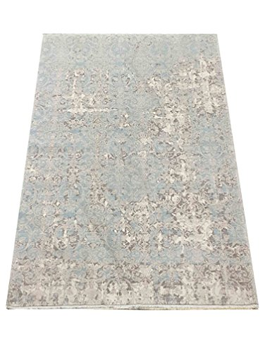 Soft Natural Turkish Viscose from %100 Bamboo Silk Area Rug Santa FE Collection by Benissimo, Contemporary Living for Living Room and Kitchen Area Rug Size 5' 3