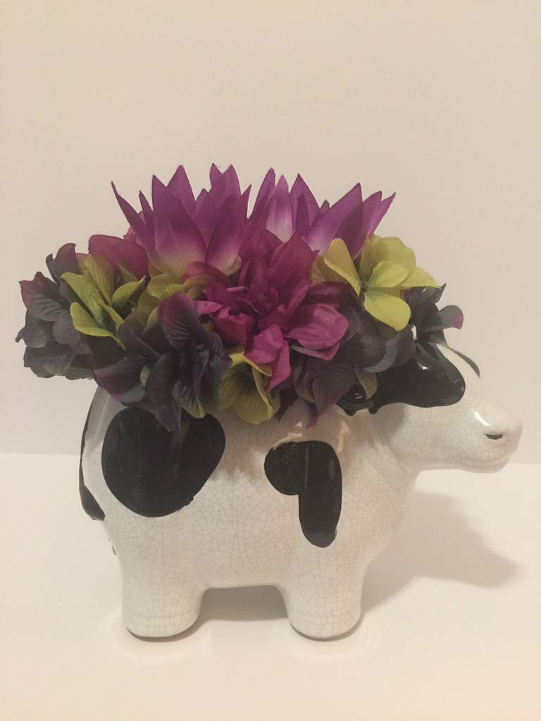 ANIMAL FUN - CERAMIC CRACKED EGGSHELL BLACK AND WHITE COW VASE - PURPLE/BLUE/GREEN HYDRANGEAS, GREEN HYDRANGEAS, PURPLE DAHLIA, AND PURPLE/WHITE/YELLOW LOTUS FLOWER