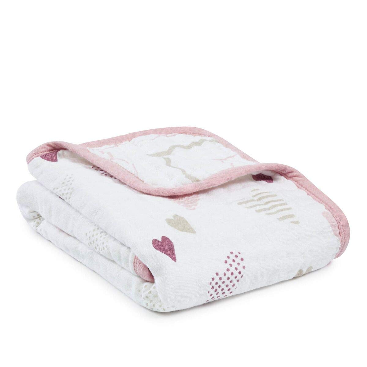 aden + anais Classic Stroller Blanket, 100% Cotton Muslin, 4 Layer lightweight and breathable, 27.5 X 27.5 inch, Heartbreaker, Pink