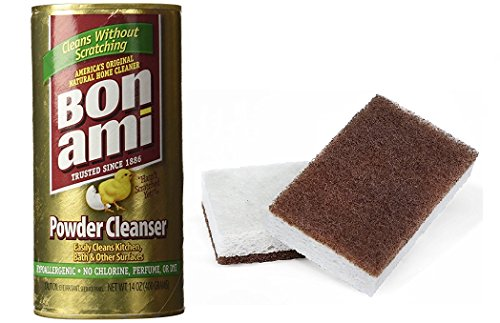 Natural Cleaning - Bon Ami Polish and Cleanser Powder with Walnut Scrubber Sponges Bundle
