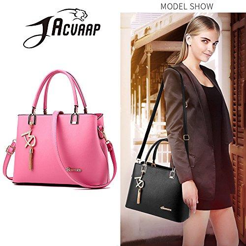(JVPS18-P) 2018 Nuevas mujeres bolso de hombro de la PU a prueba de agua Bolsa de Messenger europea y americana de moda todos los 6 colores Volver bolso popular celebridad Rosa