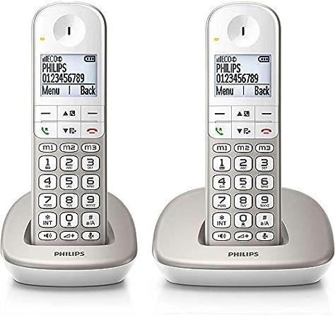 Philips XL4901S/23 - Pack de 2 Teléfonos Fijos Inalámbricos (16 Horas, Audífonos Compatibles, Marcación Directa, Manos Libres, 2 Números por Contacto, Antideslizante, Reducción de Ruido) Blanco/Dorado: Amazon.es: Electrónica