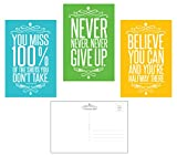 Famous Quotes Motivational/Inspirational (Set of 30) Typographic Postcards (4 x 6 inches). Glossy 14pt. UV front coated. Made in the USA. 3 Designs, 10 of each.