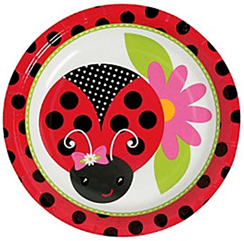 "Custom & Unique {7"" Inch} 32 Count Multi-Pack Set of Medium Size Round Circle Disposable Paper Plates w/ Garden Insects Lady Bug & Flower ""Red, Black, White, Pink & Green Colored"" w/ Matching Napkins from mySimple Products"