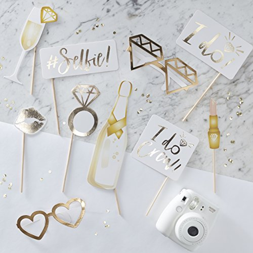 Ginger Ray ID-415 White and Gold Foiled Photobooth Props-10 Props ()