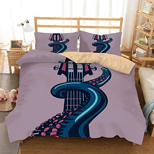 Musical Instrument Cora - Octopus Decor Khaki Duvet Cover Set Full/Queen Size,Octopus Tentacle is Holding Guitar Riff Musical Instrument Rock and Roll Modern Artwork,Decorative 3 Piece Bedding Set with 2 Pillow Shams,Teal Cora
