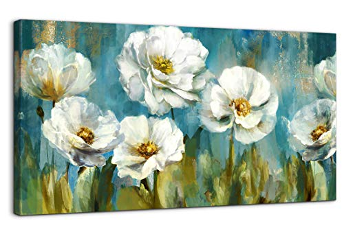 Living Room Wall Decoration Modern Canvas Wall Art Abstract White Flower Green Theme Picture Giclee Prints Painting Wall Decor Large Framed Artwork Ready to Hang for Bedroom Home Wall Decor 20x40 Size
