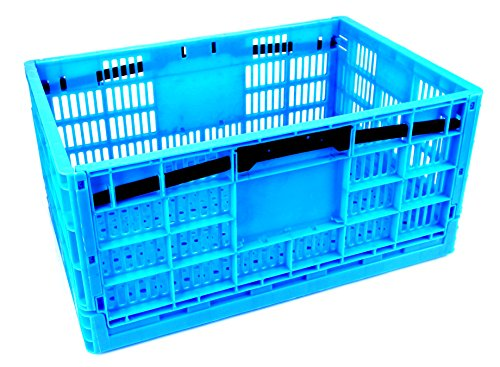 Garen Storage Crate / Collapsible, Heavy Duty Plastic construction, Industrial Strength 15 Gallon / 57 liter L size