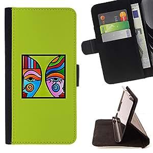 BullDog Case - FOR/Sony Xperia M2 / - / green modern art blue poster minimalist /- Monedero de cuero de la PU Llevar cubierta de la caja con el ID Credit Card Slots Flip funda de cuer
