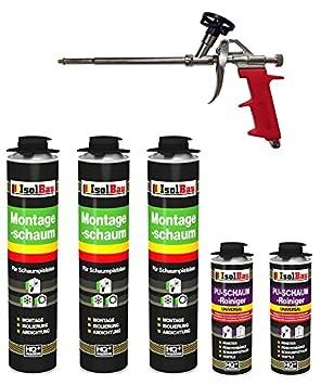 Set pistola de espuma 3 lata 750 ml Espuma de montaje 1 K Diseño Espuma de espuma de poliuretano + 2 limpiadores + 1 pistola de espuma: Amazon.es: Bricolaje ...