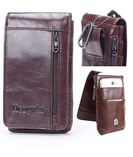 Hwin Leather Belt Clip Pouch Vertical Cellphone Holster Waist Pack/Belt Bag Wallet Pouch Men Carrying Sleeve Men Purse Carrying case for iPhone 8/7/6s Plus Galaxy S7/8/9 Plus LG G5/G6 +Keychain-Brown