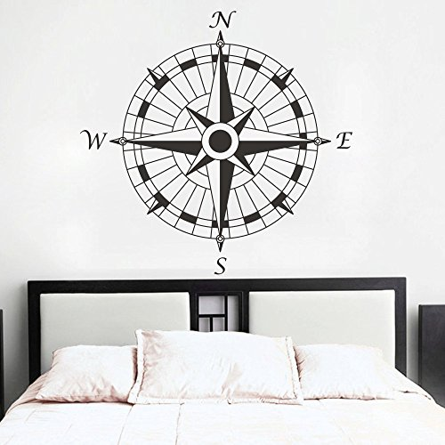 Compass Rose Vinyl Wall Decal Home And Office Decoration Wall Stickers (Black, Small)