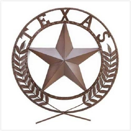 Smart Living Company GHP Large Brown Metal Texas Lone Star Wall Plaque Western Decor by Globe - Star Canister Kitchen Texas