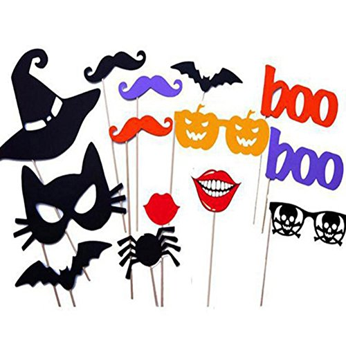 E-dance Colorful Photo Booth Props on a Stick Cosplay Halloween Party DIY Fun Party Favors (14 pcs) -