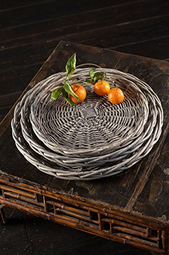 Vagabond Vintage, Set of 3 Round Willow Platters in Grey Wash