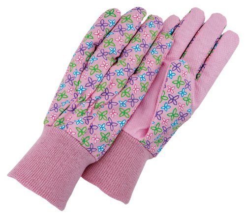 magid-kd103t-kids-dotted-canvas-knit-wrist-glove-floral-print-assorted-colors