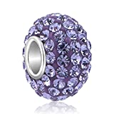 QueenCharms 925 Sterling Silver Crystal Charm for Bracelets Purple