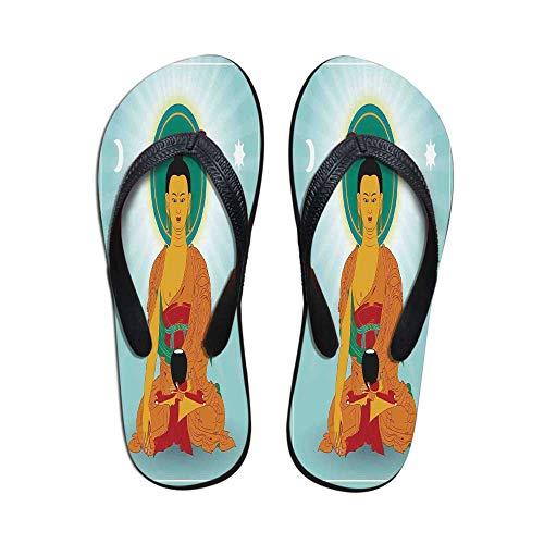 (Dharma Wheel Decor Wear Resisting Flip Flops,Meditation Theme Indian Boho Style Print Nirvana Art Decorative for Indoor & Outdoor,US Size 5)