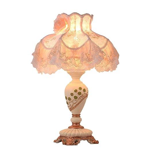 LL-Enjoyy Lámpara de Mesa Vintage, Pantalla de Encaje Rosa, Cuerpo ...