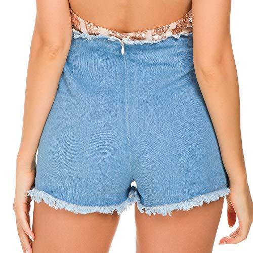 Vita Breve Di Xzp Donne Hot Foro Buco Pants Pantaloncini Delle Sexy Jeans Ultra Moda Blue Notturna Nero UUx4nP
