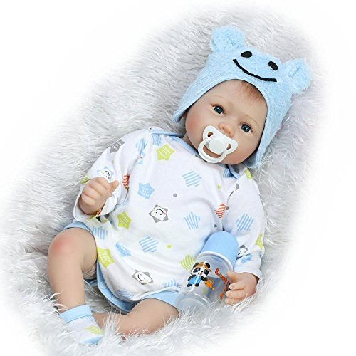 NPK Collection 22 Inch 55cm Lifelike Reborn Dolls Soft Silicone Vinyl Real Touch Newborn Baby Doll Free Magnet Pacifier Xmas Gift (Face Chubby Sit)