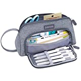 Aiscool Big Capacity Pencil Case Bag Pen Pouch Holder Large Storage Stationery Organizer for School Supplies Office College Teen (Gray): more info