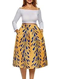 Afibi Women's African A-Line Print Knee Length Pleated Midi Skirt