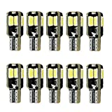 LIMASTAR Extremely Bright White194 Canbus LED Bulb T10 Error Free W5W Wedge 168 2825 158 161 for Car Interior LED Dome,Map,Courtesy,License Plate Light Bulb 12V 8SMD (10 pcs)