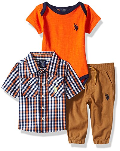 Match Shirt Pants - U.S. Polo Assn. Baby Boys Short Sleeve Shirt, T-Shirt and Pant Set, Orange Khaki Mix Multi Plaid, 3-6 Months