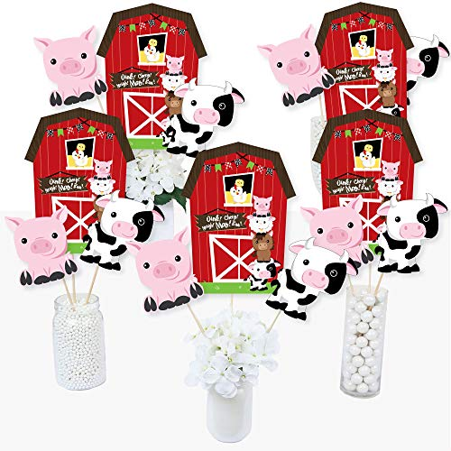 Table Party Centerpiece Birthday (Farm Animals - Barnyard Baby Shower or Birthday Party Centerpiece Sticks - Table Toppers - Set of 15)
