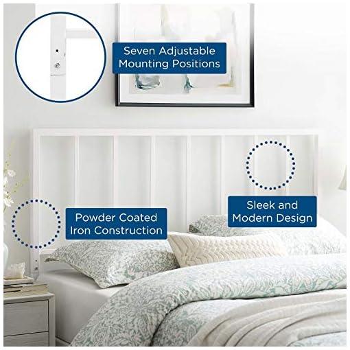 Bedroom Modway Tatum Modern Farmhouse Metal King Headboard in White farmhouse headboards