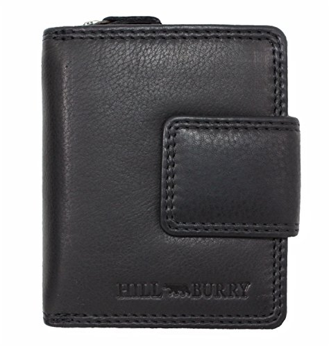 Genuine Leather Wallet for Men Women small Handmade Bifold compact Wallets ID Card Holder with coin pocket black Houston (Genuine Ladies Usa Wallet Leather)