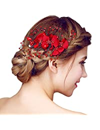 YAZILIND Headdress Beauty Women's Bridal Wedding Hair Clip Barrette Party Red Rhinestones Flower Alloy Women Hair Accessories