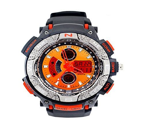 Fashion Unisex Led Digital Quartz Watch,Multifunctions,Backside Light,Waterproof, Outside activities support-Orange