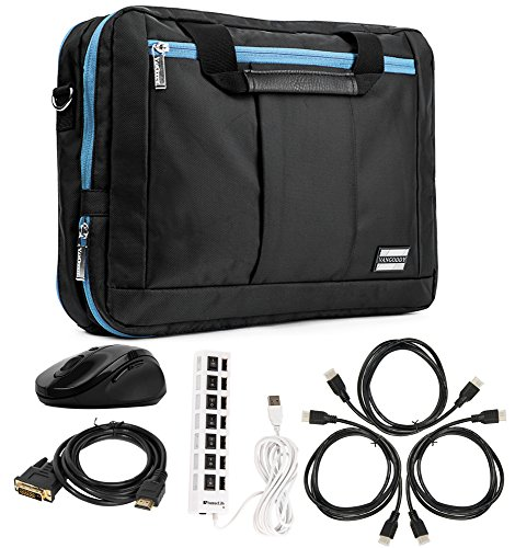 Aqua Hybrid Bag & Wireless USB Mouse & 3 HDMI Cables & DVI Dual Link & 7 Port USB for Acer 10''-12'' by Vangoddy