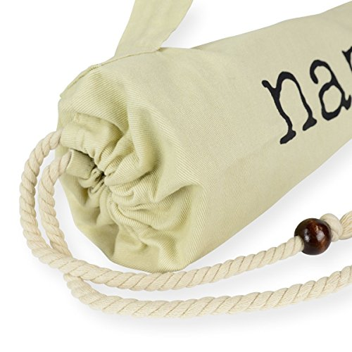 Yoga Mat Bag w/ Shoulder Strap & Drawstring. Natural Cotton Organic Feel Fiber. Lightweight & Durable by Junc. (Image #4)