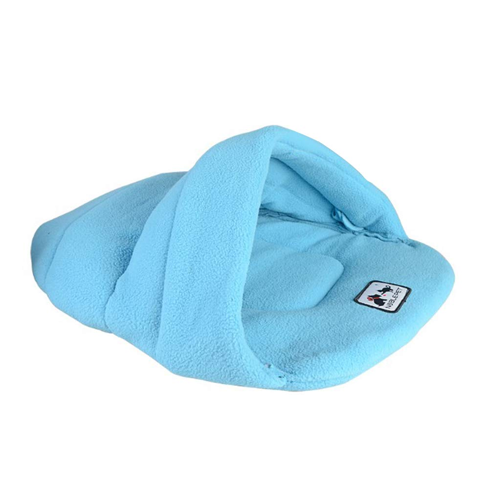 bluee Small bluee Small Washable Puppy pet Bed Pet Cat Dog Sleeping Bag Warm Lamb Wool Slippers Pet Waterloo (color   bluee, Size   S)