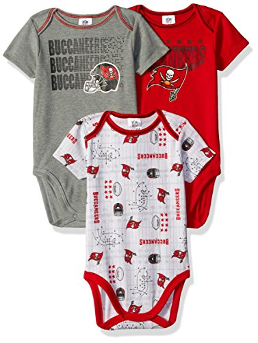 NFL Tampa Bay Buccaneers Boys Short Sleeve Bodysuit (3 Pack), 3-6 Months, Red (Bay Onesie Infant Buccaneers Tampa)