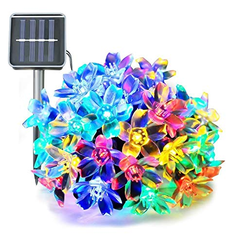 LACGO 50 LED Peach Blossom Flower Shape Indoor & Outdoor Fancy Color Solar String Light (1pcs) (Multi-Colored)