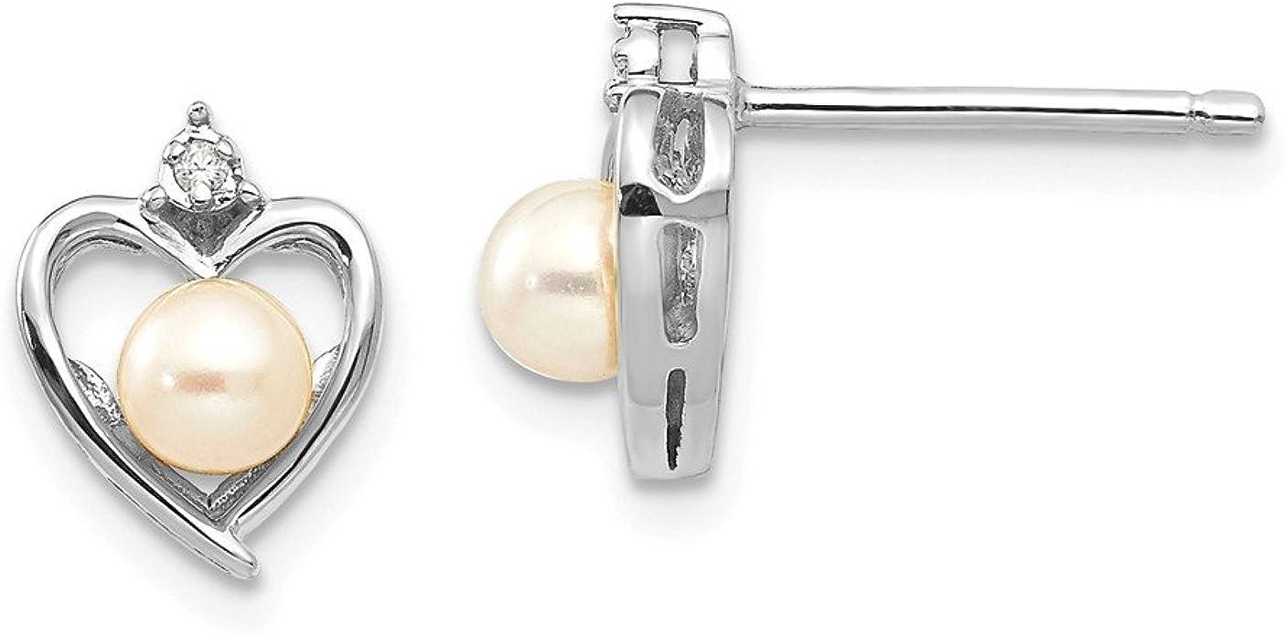 Mia Diamonds 14k Yellow Gold 6mm FW Cultured Pearl Leverback Earrings