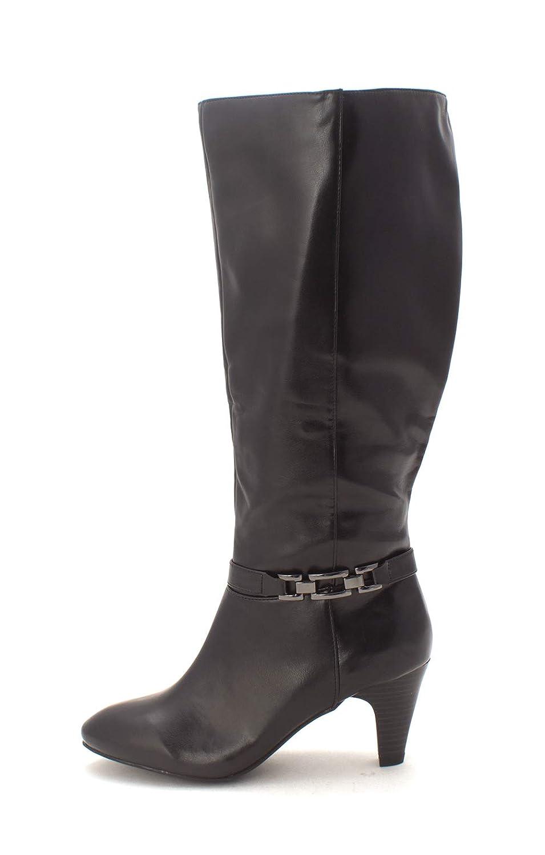 Karen Scott Frauen Hulah Weite Wadenoeffnung Geschlossener Zeh Fashion Stiefel Schwarz Groesse 7 US  38 EU