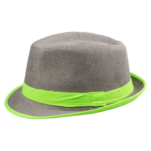 EOZY Chapeau de paille Style Panama avec bande Verte -Brun clair -Diam. 56-58cm