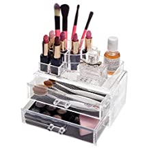 """Choice Fun Detachable Acrylic Makeup Organizer Jewelry and Cosmetic Storage Case with 2 Drawers 7.2""""L x 4.3""""W x 6.2""""H CA-QFJJSN-ASF-1065"""